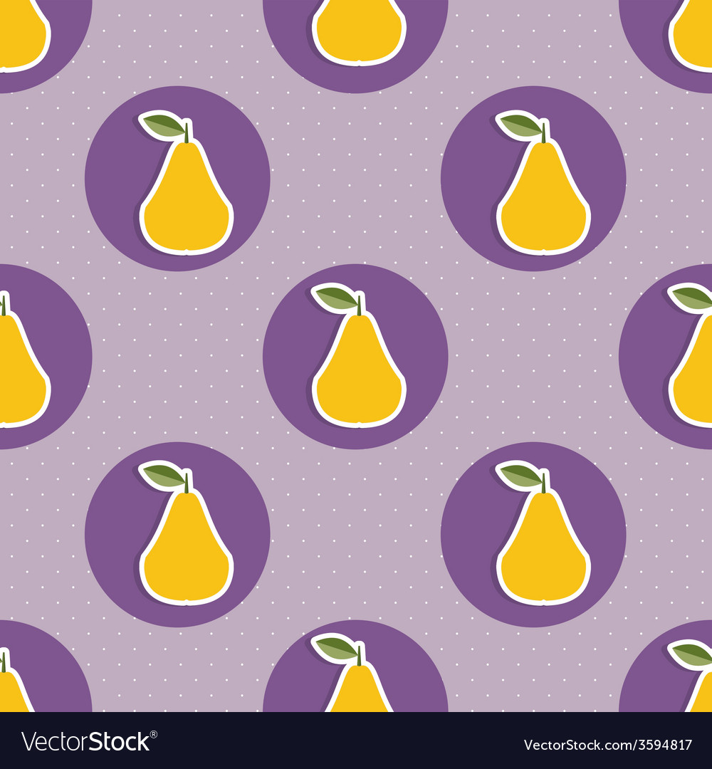 Pear pattern seamless texture with ripe pears vector | Price: 1 Credit (USD $1)