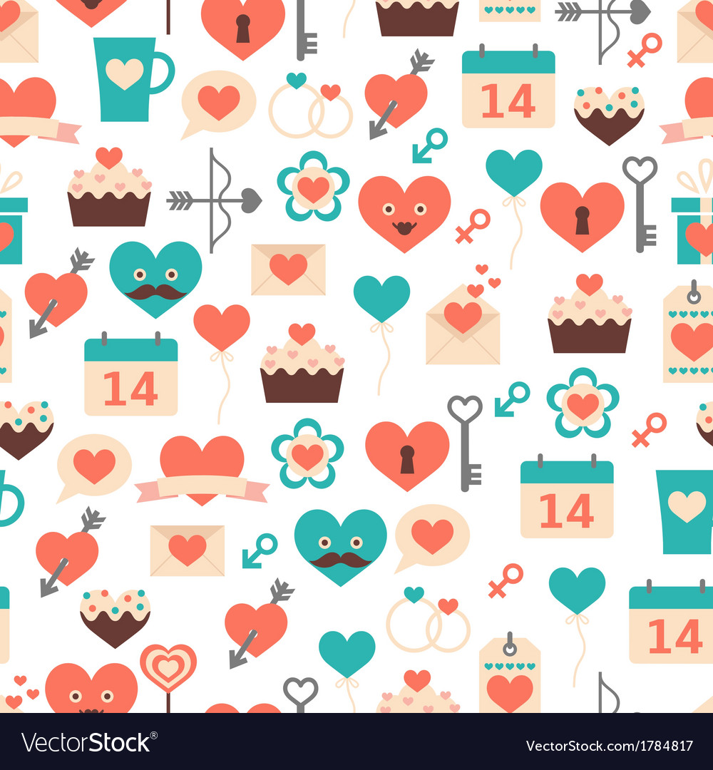 Seamless pattern for valentine day date and wed vector | Price: 1 Credit (USD $1)