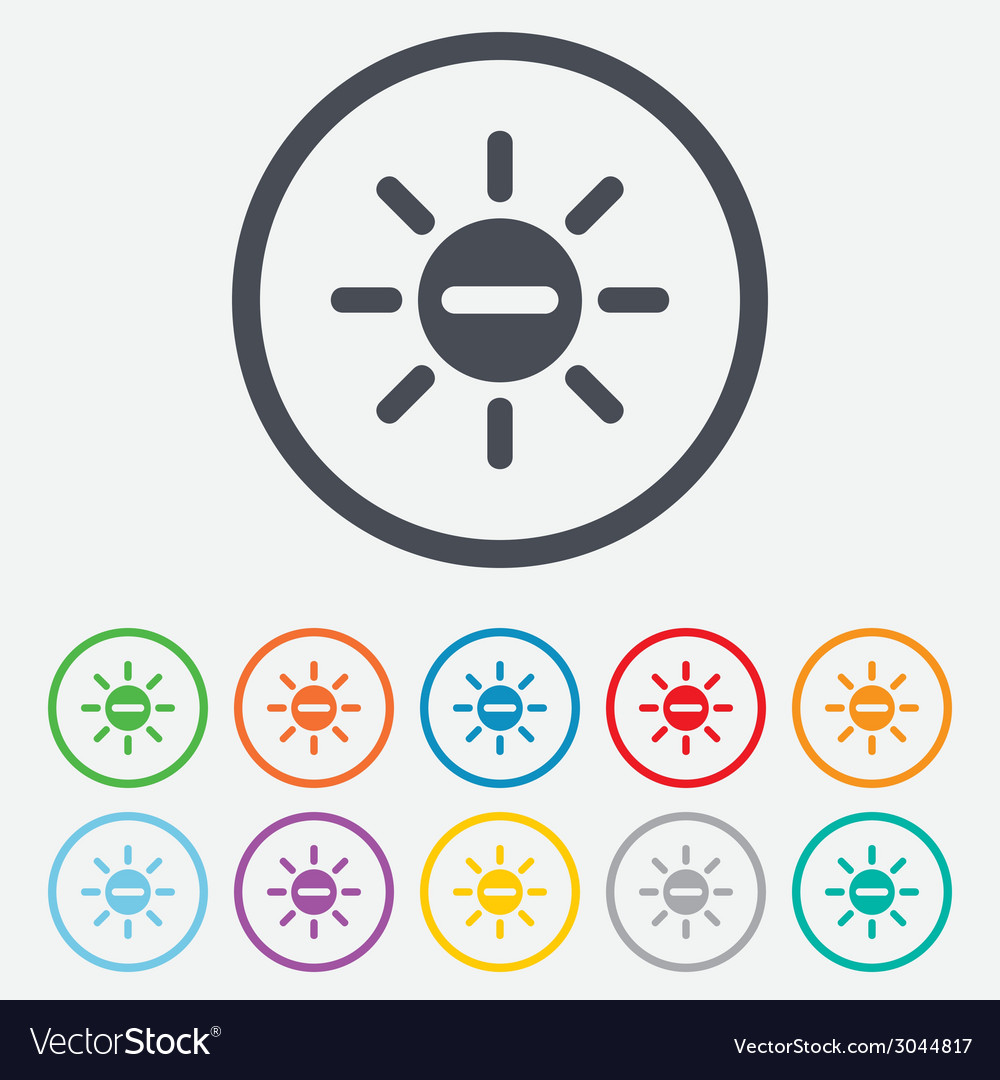 Sun minus sign icon heat symbol brightness vector | Price: 1 Credit (USD $1)