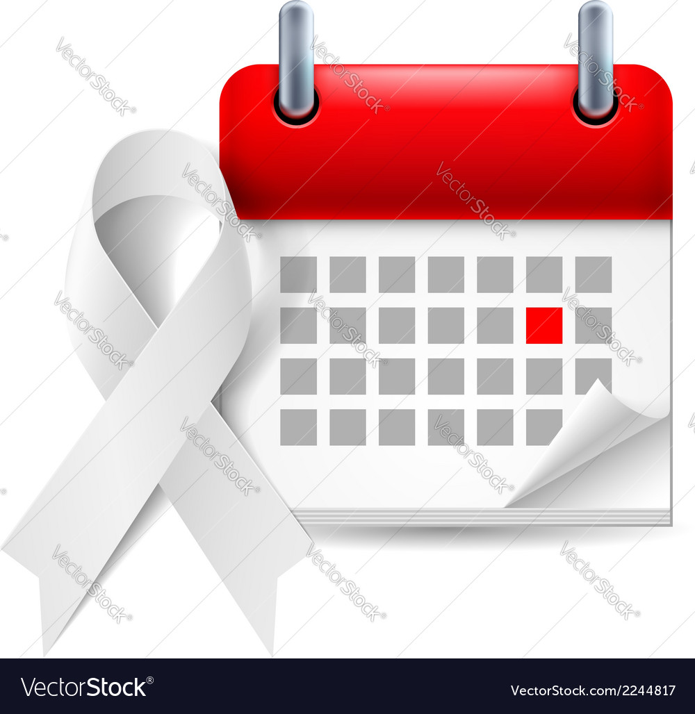 White awareness ribbon and calendar vector | Price: 1 Credit (USD $1)