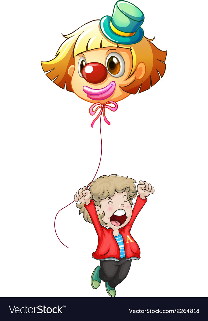 A happy young man holding a clown balloon vector | Price: 1 Credit (USD $1)