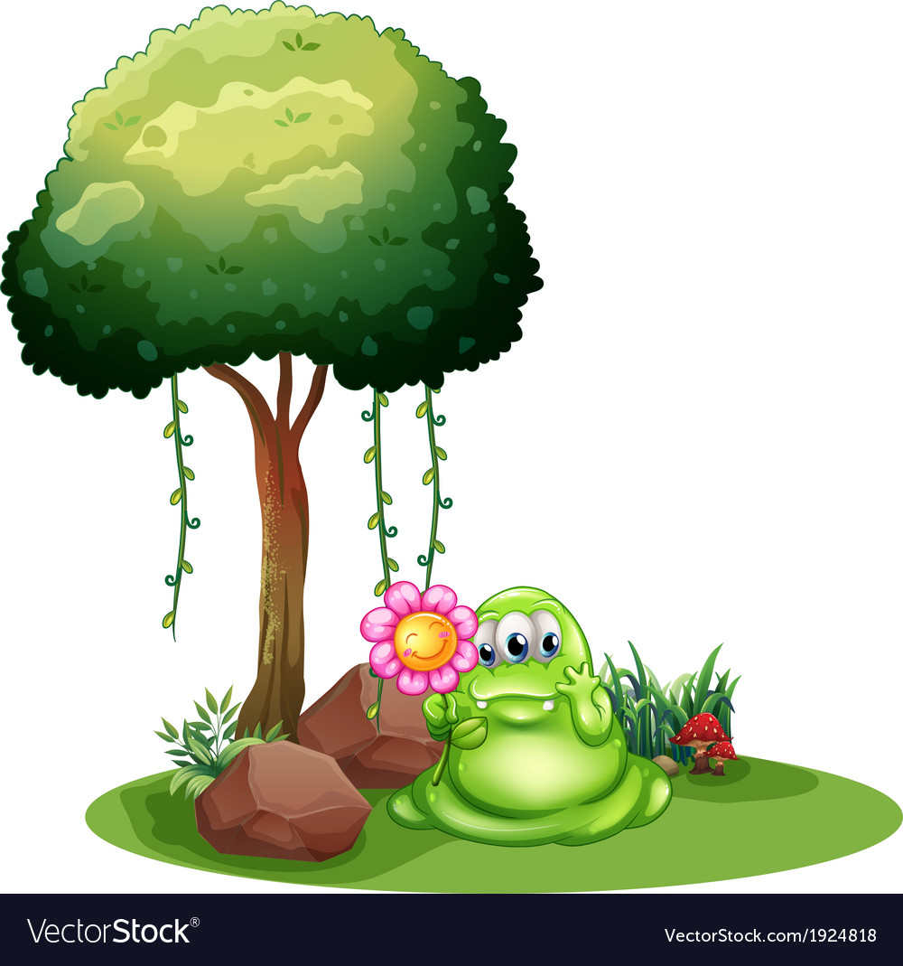 A monster holding a flower standing near the tree vector | Price: 3 Credit (USD $3)