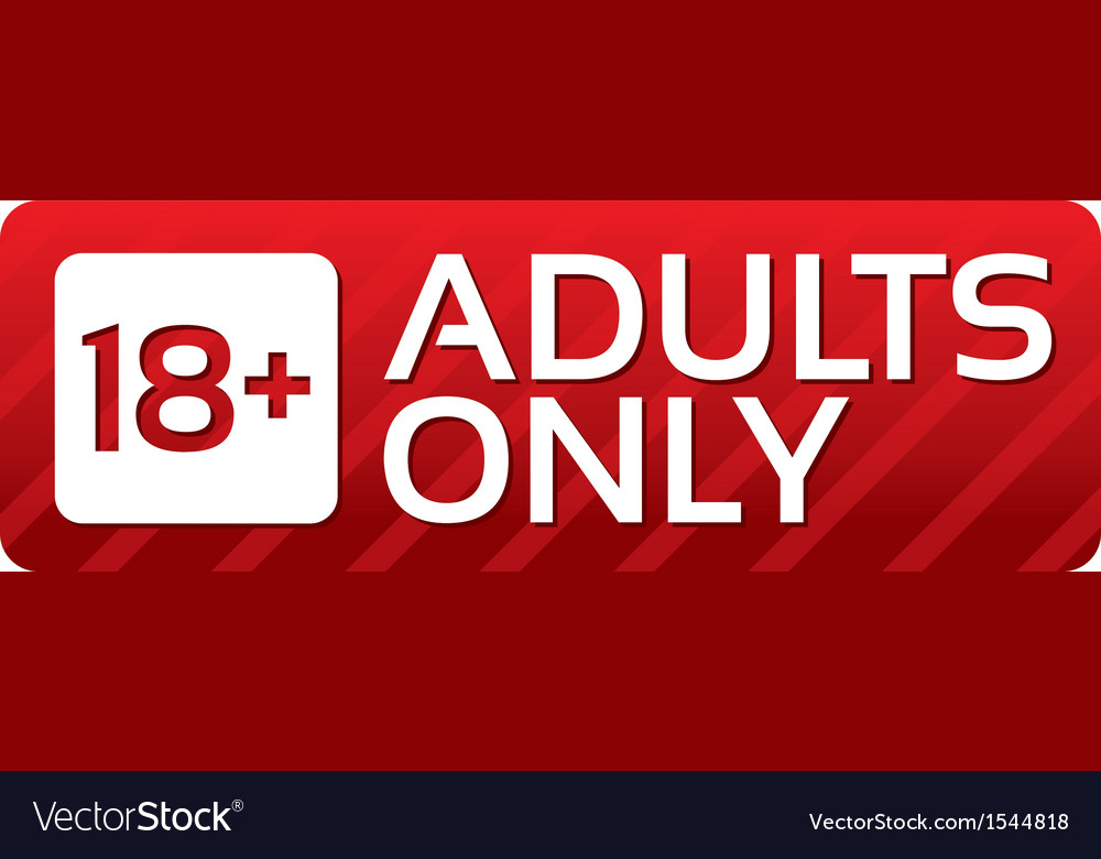 Adults only content button red sticker vector | Price: 1 Credit (USD $1)