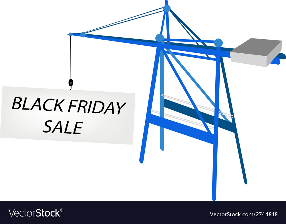 Blue mobile crane with black friday billboard vector | Price: 1 Credit (USD $1)