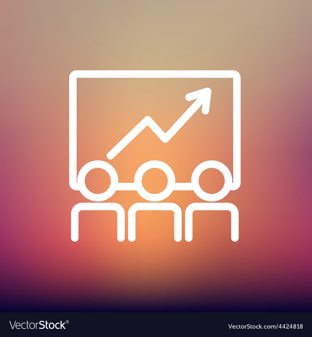 Business growth thin line icon vector | Price: 1 Credit (USD $1)
