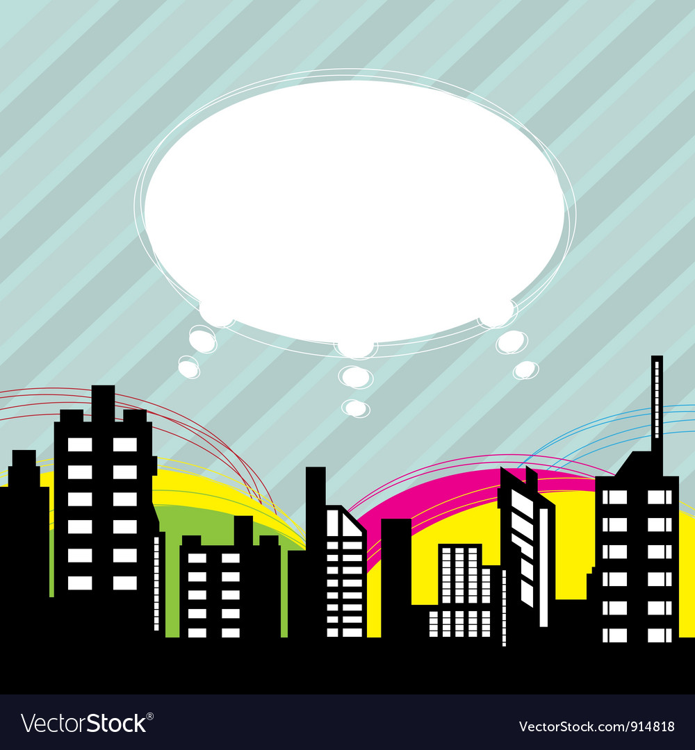 City with speech balloon vector | Price: 1 Credit (USD $1)