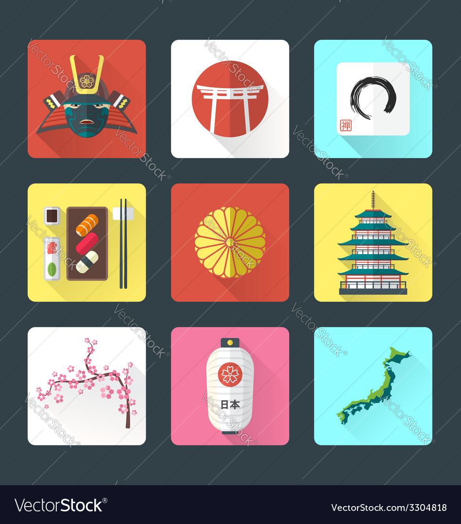 Flat design japanese icons set vector | Price: 1 Credit (USD $1)