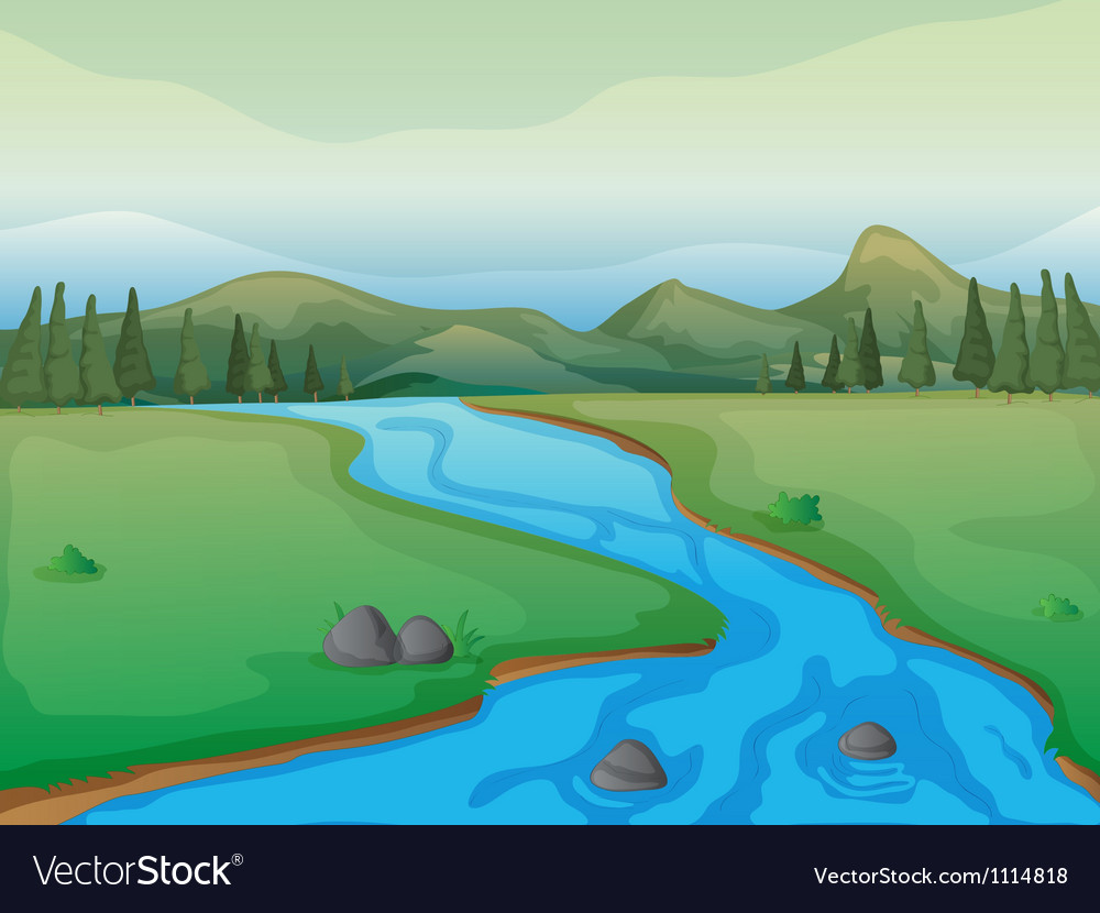 Flowing river vector