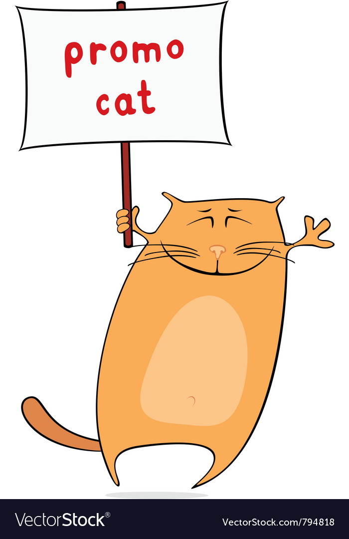 Funny promo cat vector | Price: 1 Credit (USD $1)