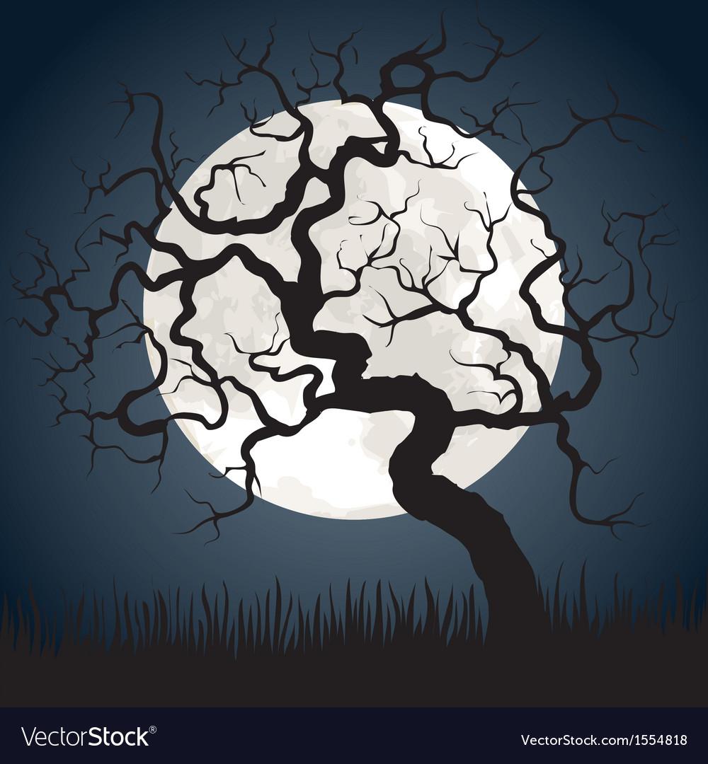 Gnarled tree at night vector | Price: 1 Credit (USD $1)