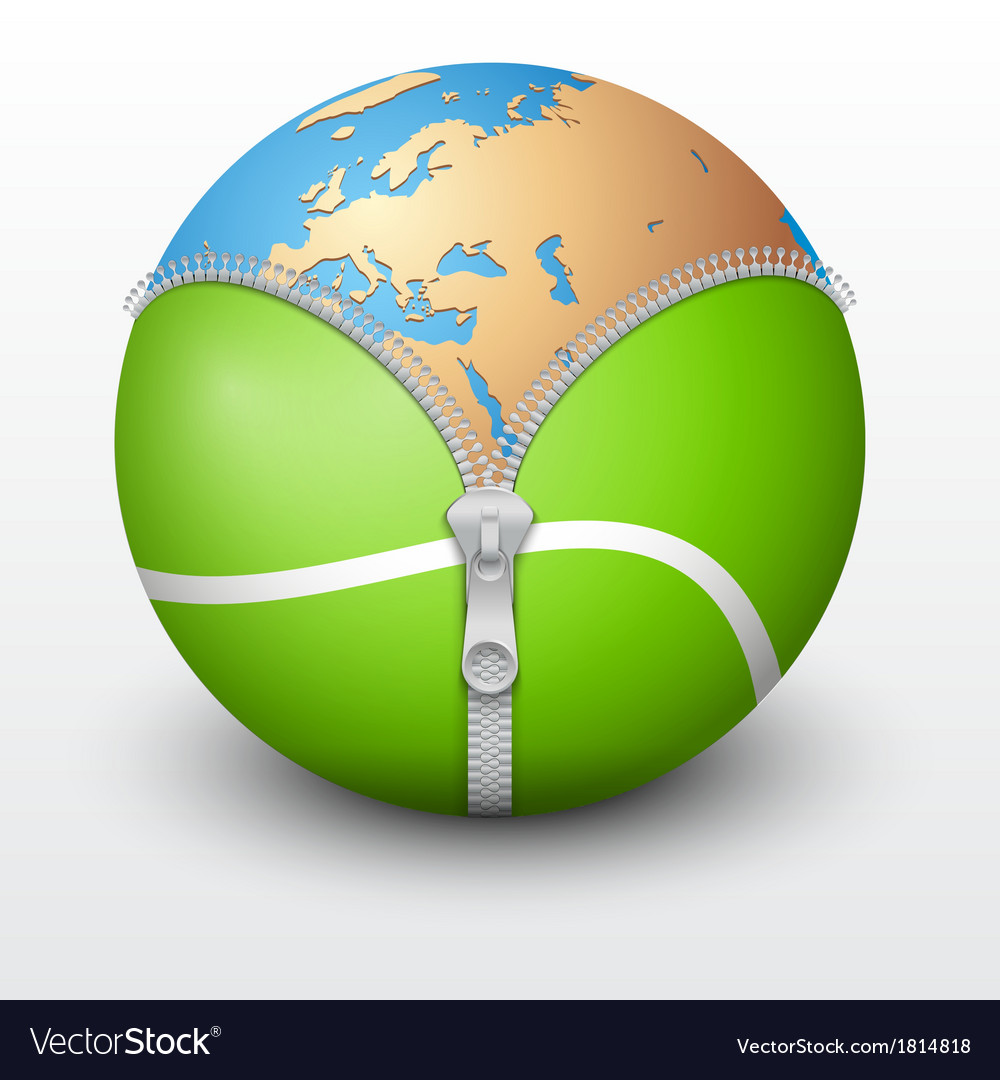 Planet earth inside tennis ball vector   Price: 1 Credit (USD $1)