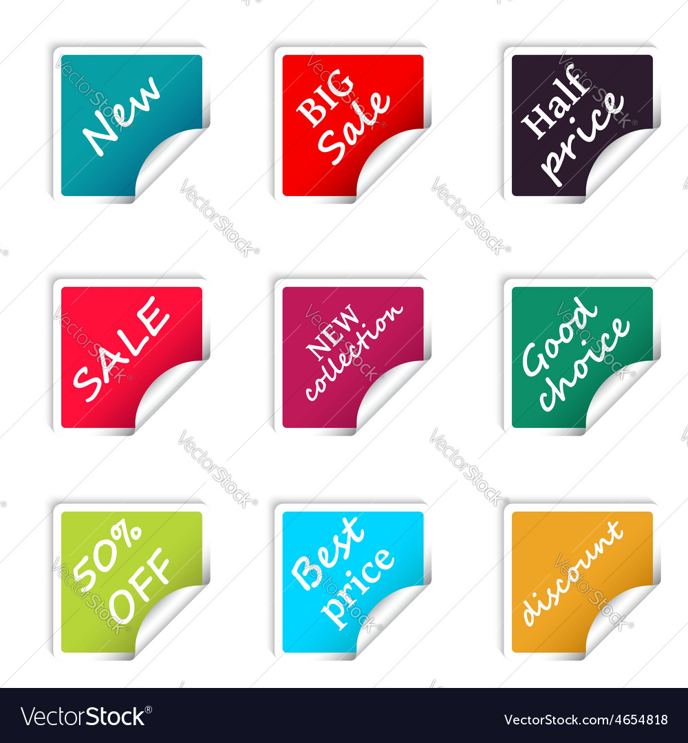 Set of web sale square stickers for online shop vector | Price: 1 Credit (USD $1)