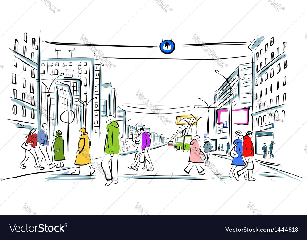 Sketch of street with pedestrians for your design vector | Price: 1 Credit (USD $1)