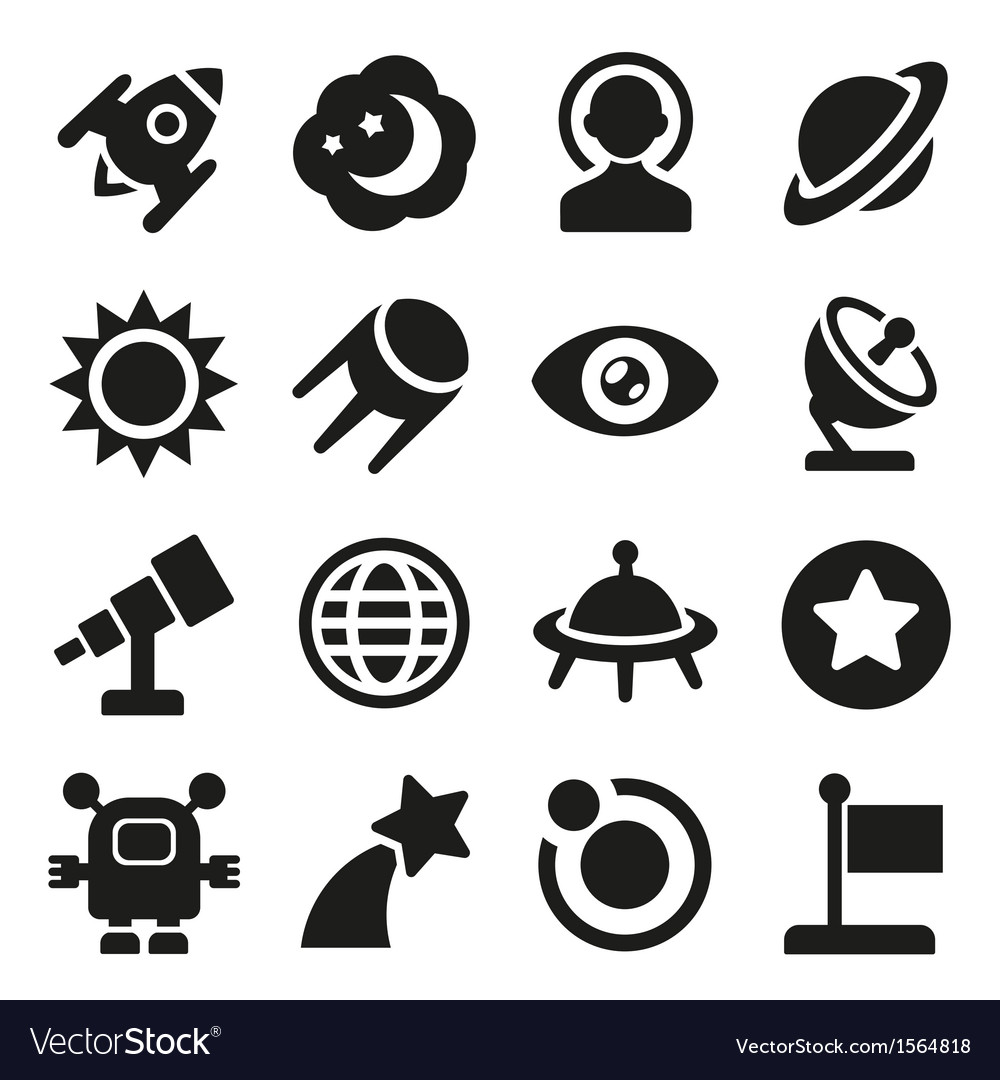 Space icons set vector | Price: 3 Credit (USD $3)