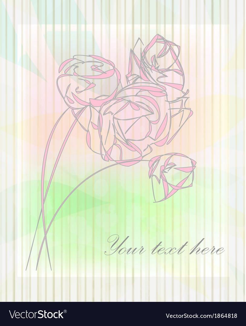 Vintage flower greeting card vector   Price: 1 Credit (USD $1)
