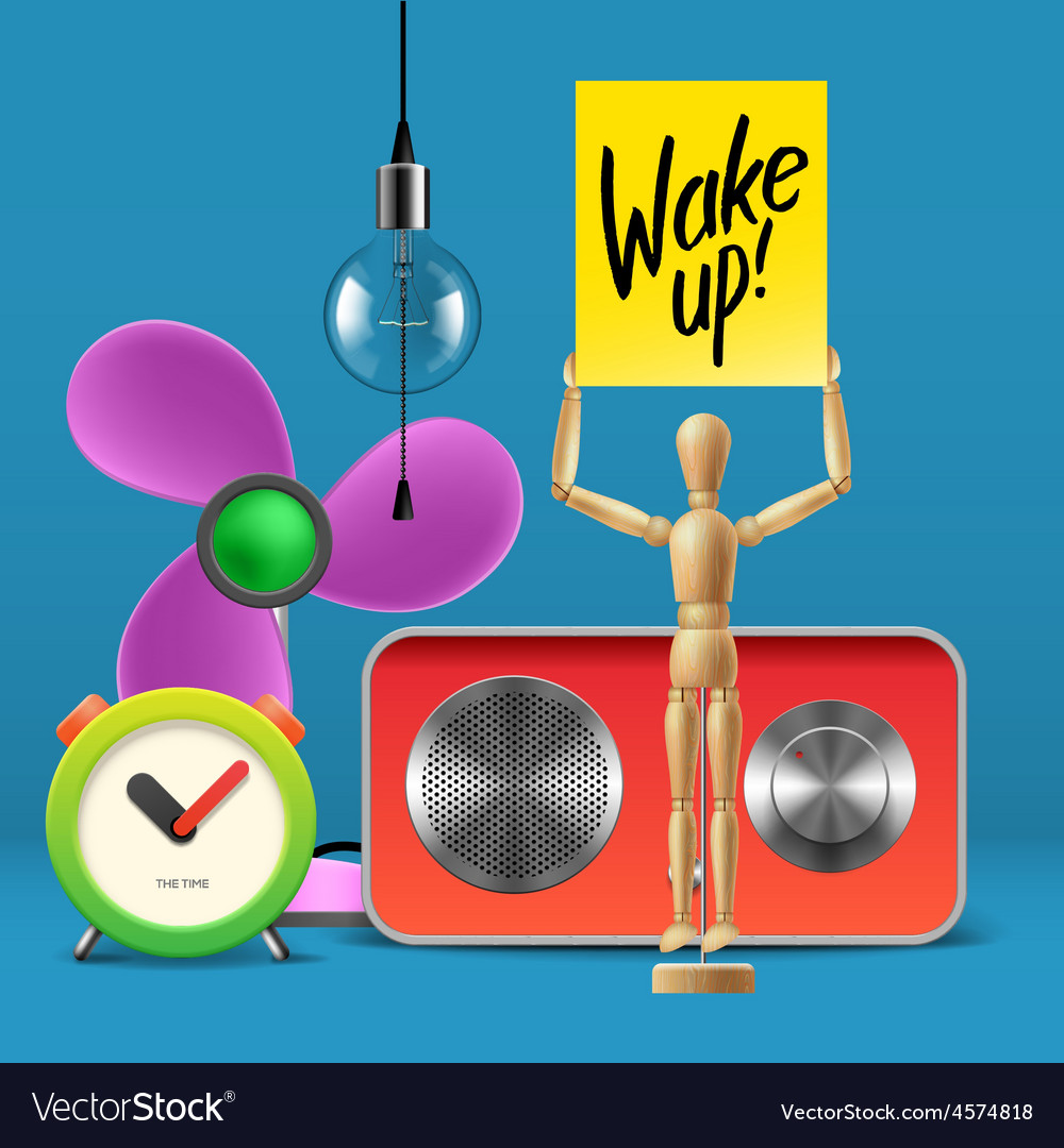 Wake up workspace mock up with analog alarm clock vector   Price: 3 Credit (USD $3)