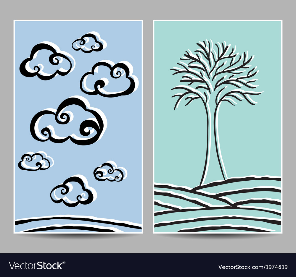 Card clouds and tree vector | Price: 1 Credit (USD $1)