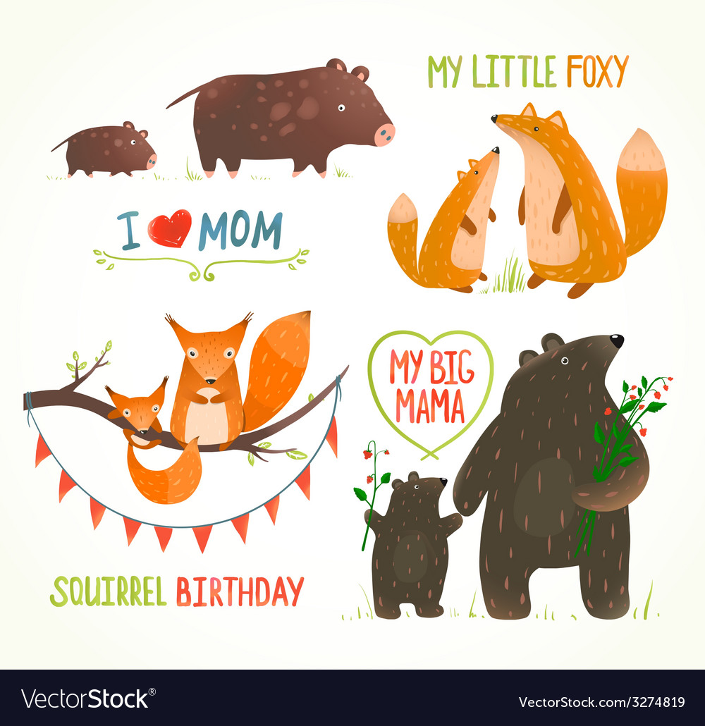 Cartoon forest animals parent with baby birthday vector | Price: 1 Credit (USD $1)