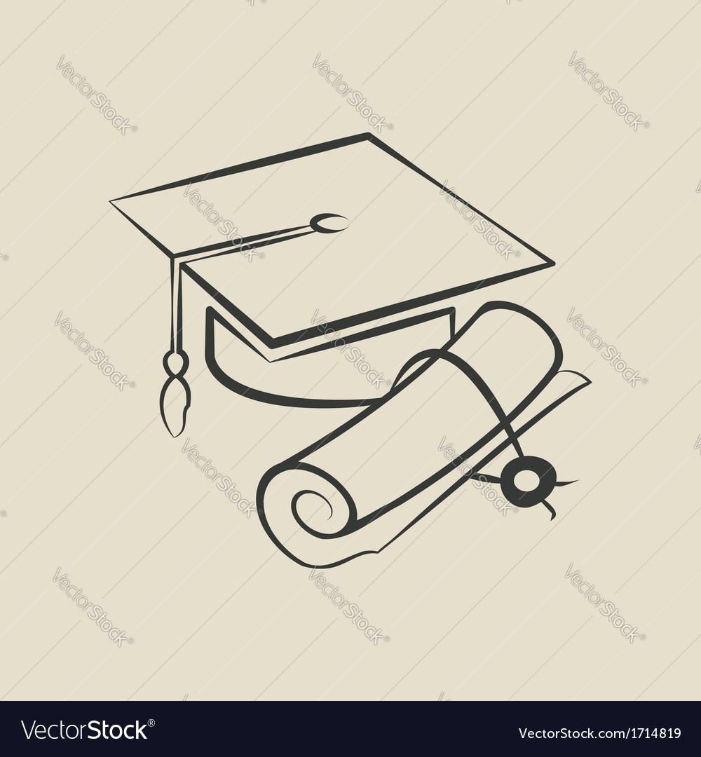 Graduation cap and diploma - vector | Price: 1 Credit (USD $1)