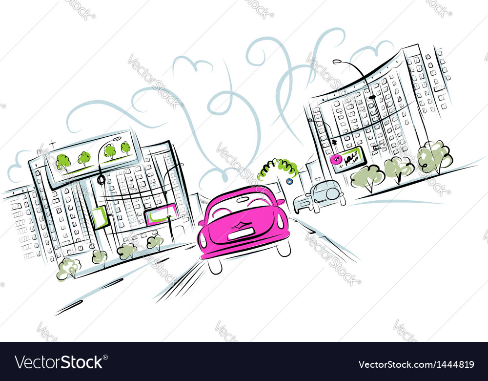 Pink car on the city road for your design vector | Price: 1 Credit (USD $1)