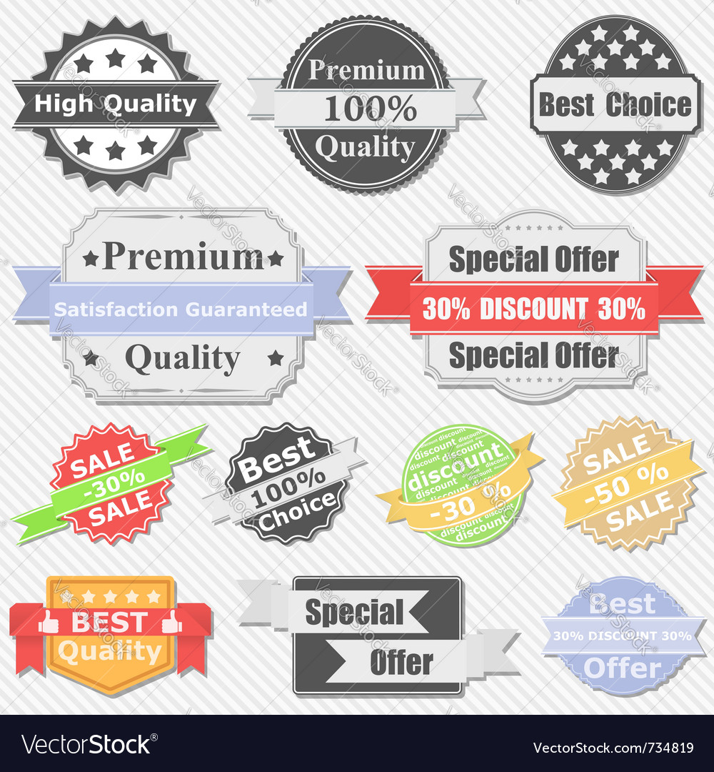 Premium quality and sale labels vector | Price: 3 Credit (USD $3)