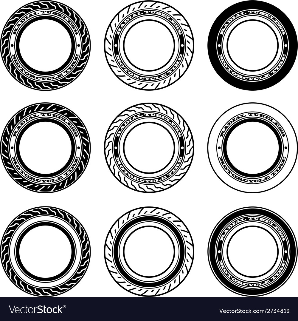 Radial tubeless motorcycle tyre symbols vector | Price: 1 Credit (USD $1)