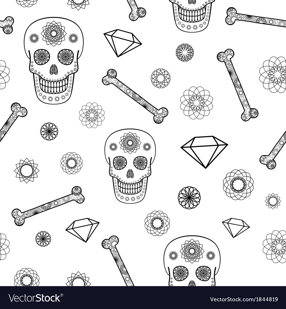 Seamless pattern with skull vector | Price: 1 Credit (USD $1)