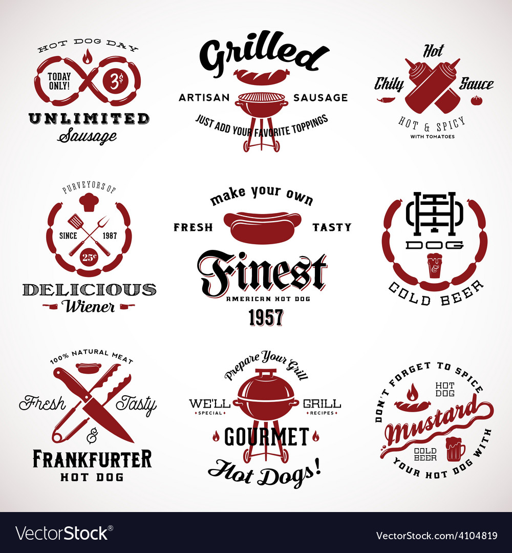 Set of vintage sausage labels or signs with retro vector | Price: 1 Credit (USD $1)