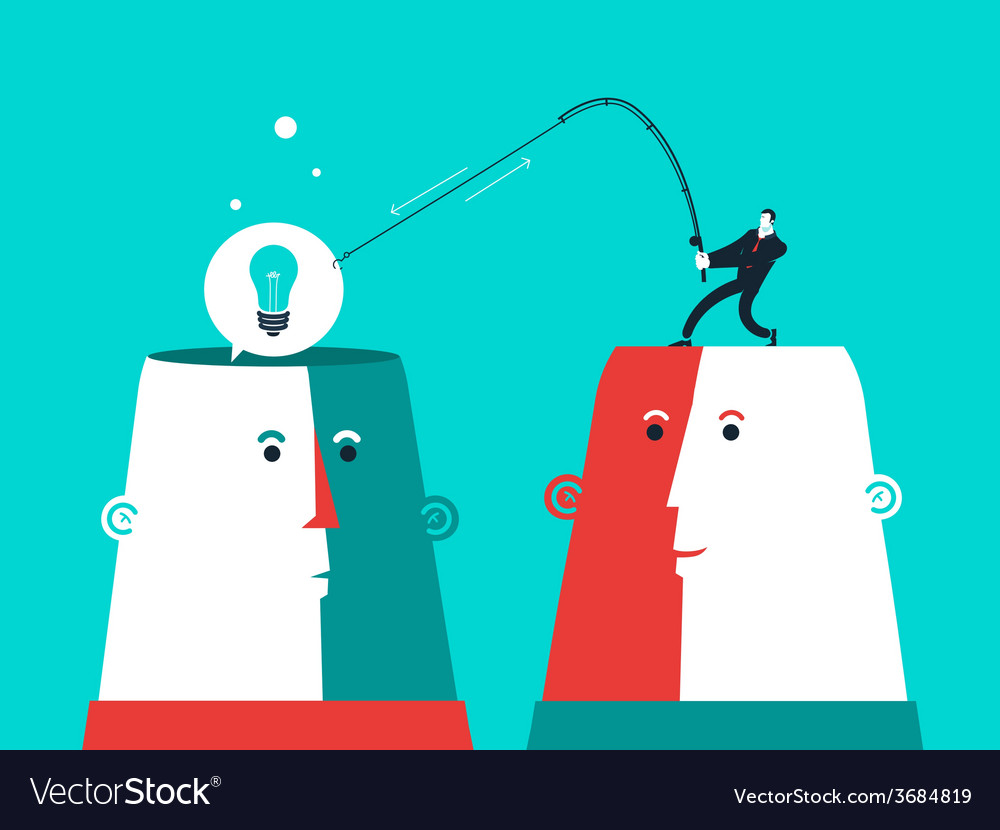 Two heads with man who catch the bulb business vector | Price: 1 Credit (USD $1)
