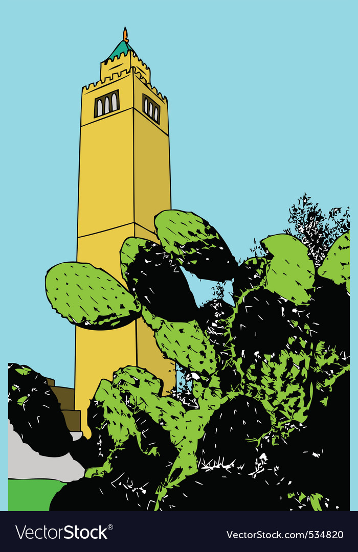 A minaret rises majestically in a suburb of tunis vector | Price: 1 Credit (USD $1)