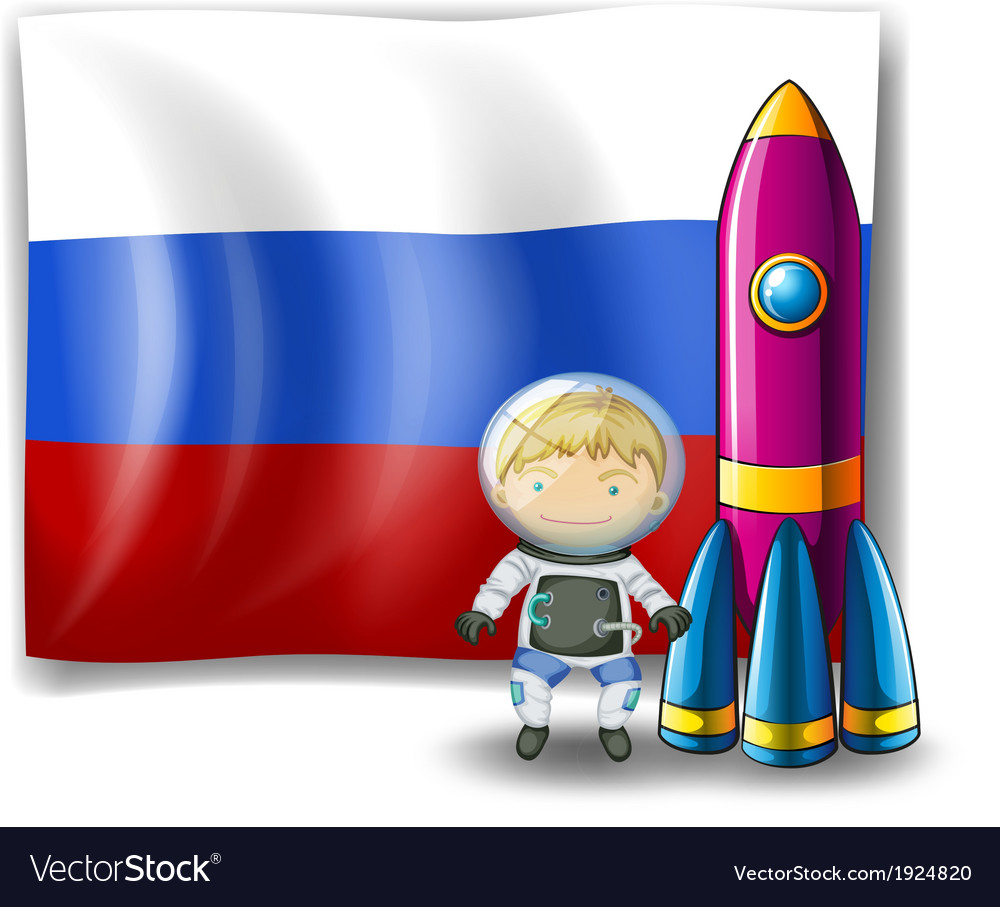A russian flag at the back of the rocket and the vector | Price: 3 Credit (USD $3)