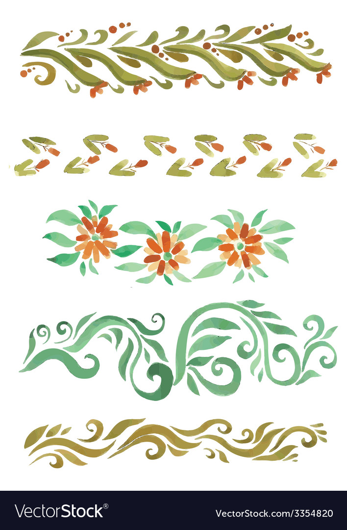 Beautiful watercolor swirls different styles vector   Price: 1 Credit (USD $1)