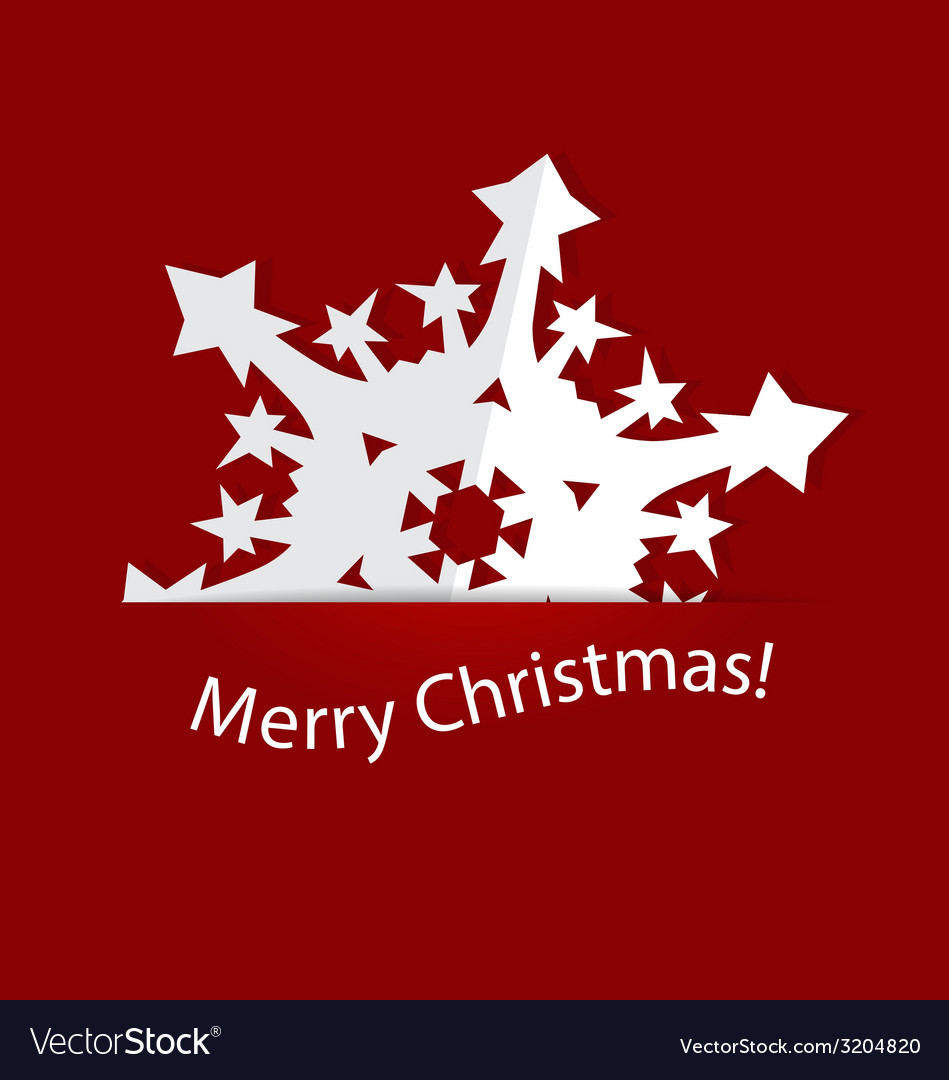 Christmas postcard with origami snowflake vector | Price: 1 Credit (USD $1)