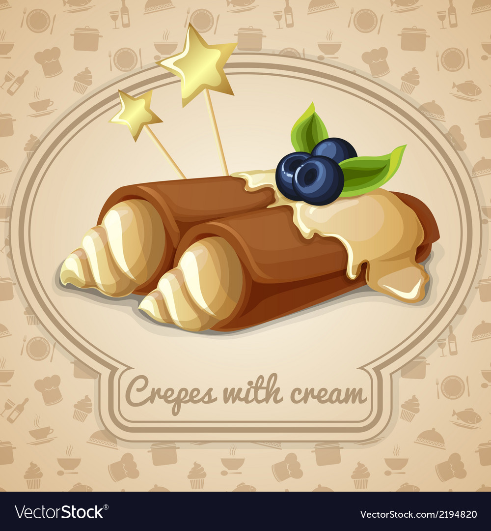 Crepes with cream emblem vector | Price: 1 Credit (USD $1)
