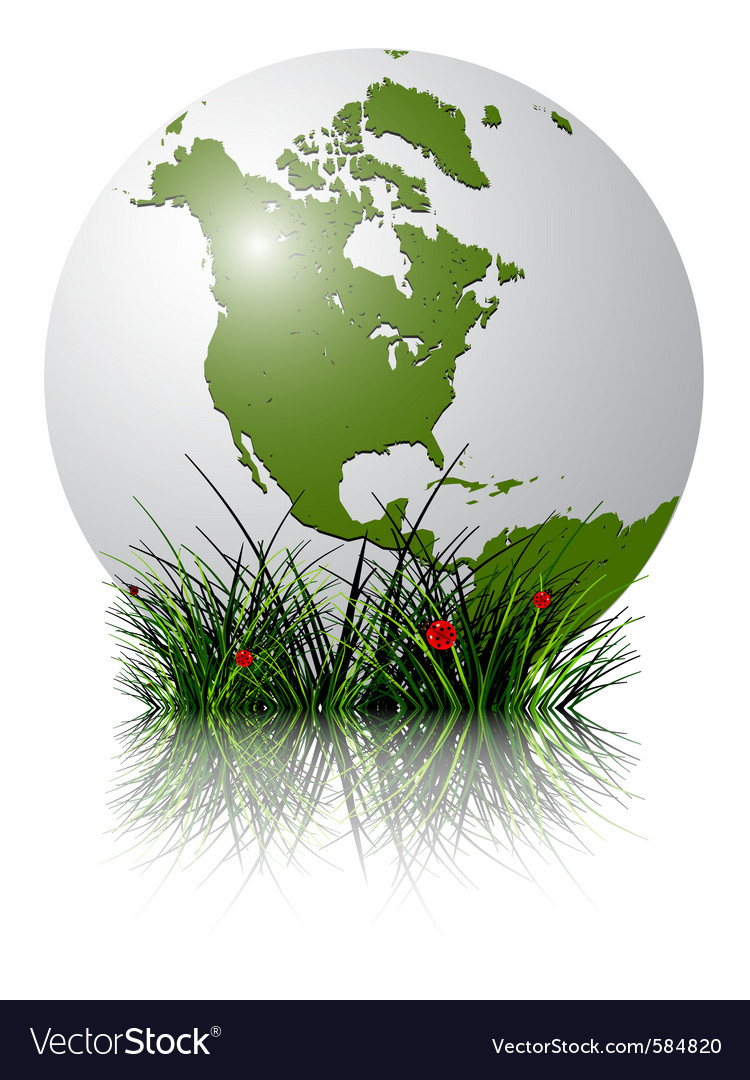 Earth globe and grass vector | Price: 1 Credit (USD $1)