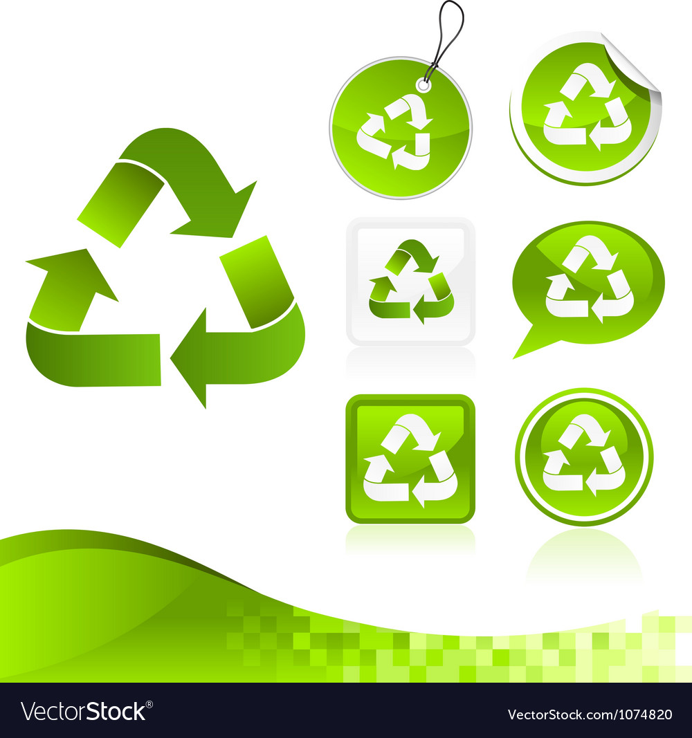 Green recycling design kit vector | Price: 1 Credit (USD $1)