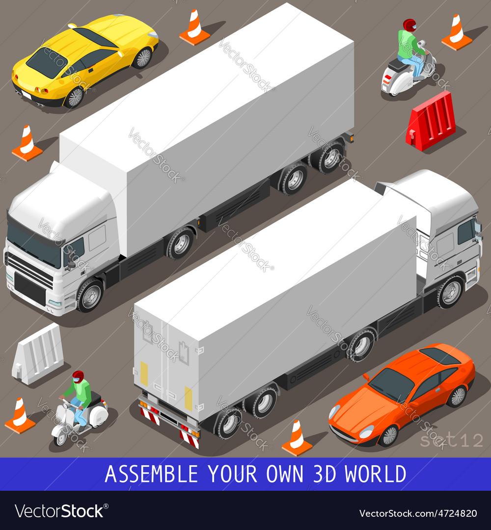 Isometric flat 3d vehicle vespa truck set vector   Price: 3 Credit (USD $3)
