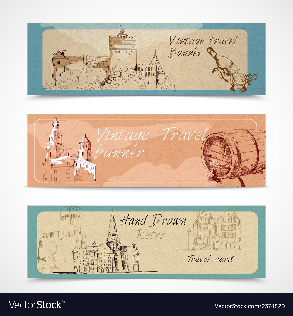 Old city banners vector | Price: 1 Credit (USD $1)