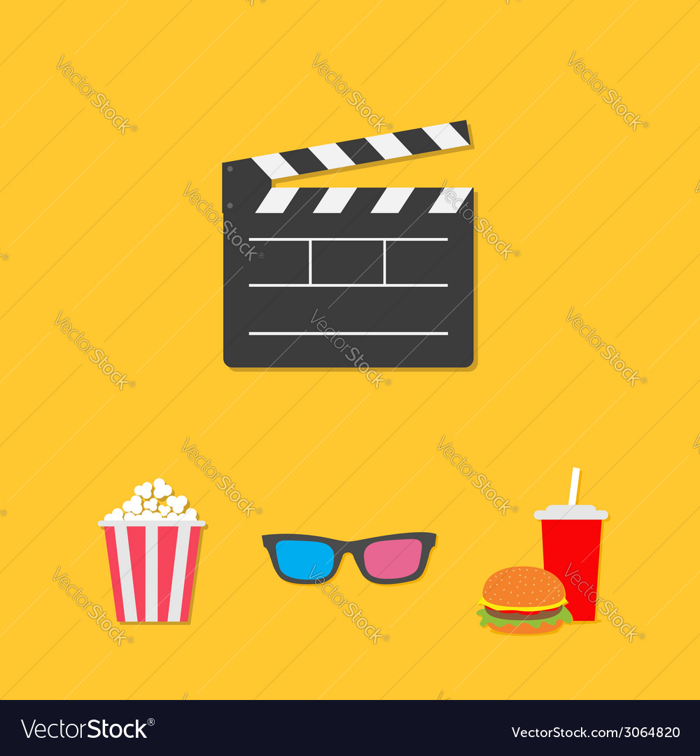 Open movie clapper board 3d glasses popcorn soda vector | Price: 1 Credit (USD $1)