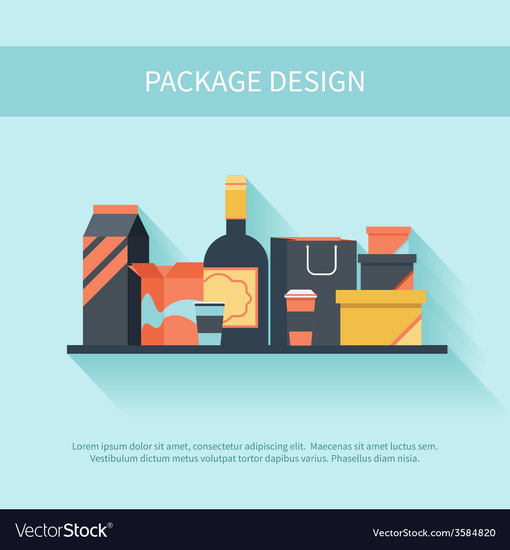 Package design in flat style vector | Price: 1 Credit (USD $1)