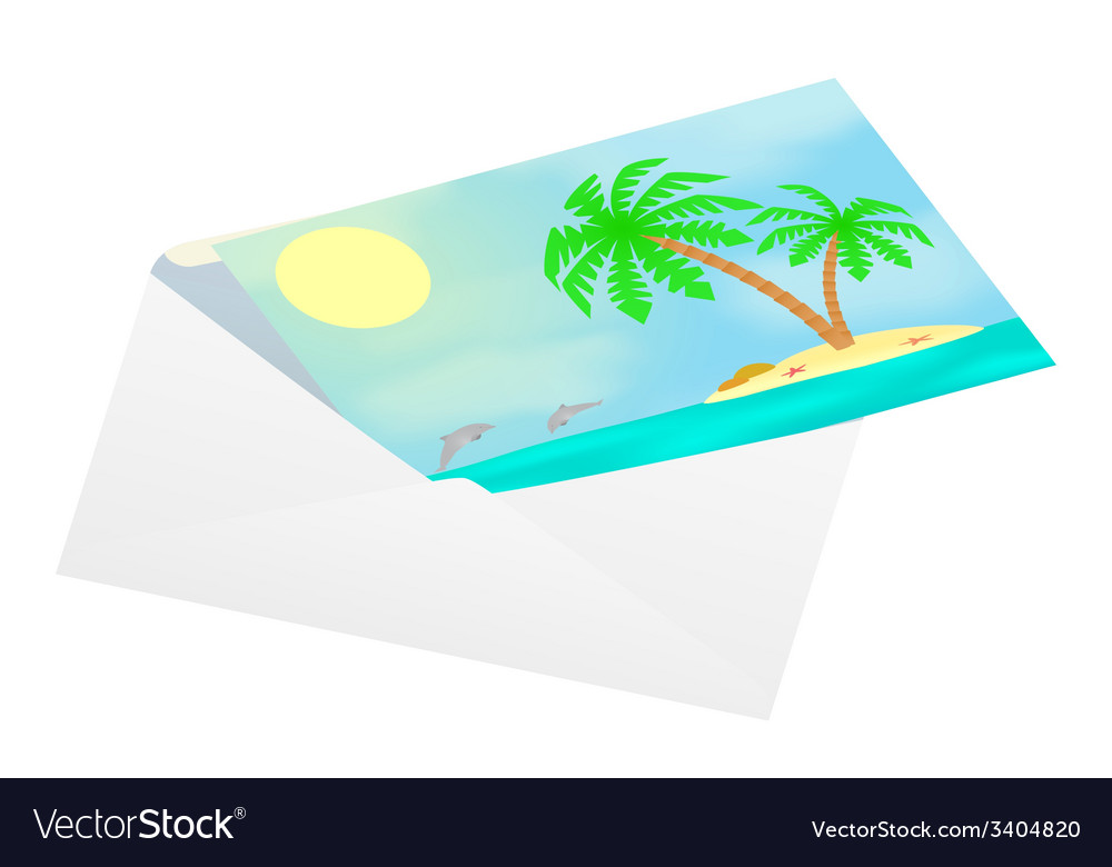 Postcard with sea views in an envelope vector | Price: 1 Credit (USD $1)