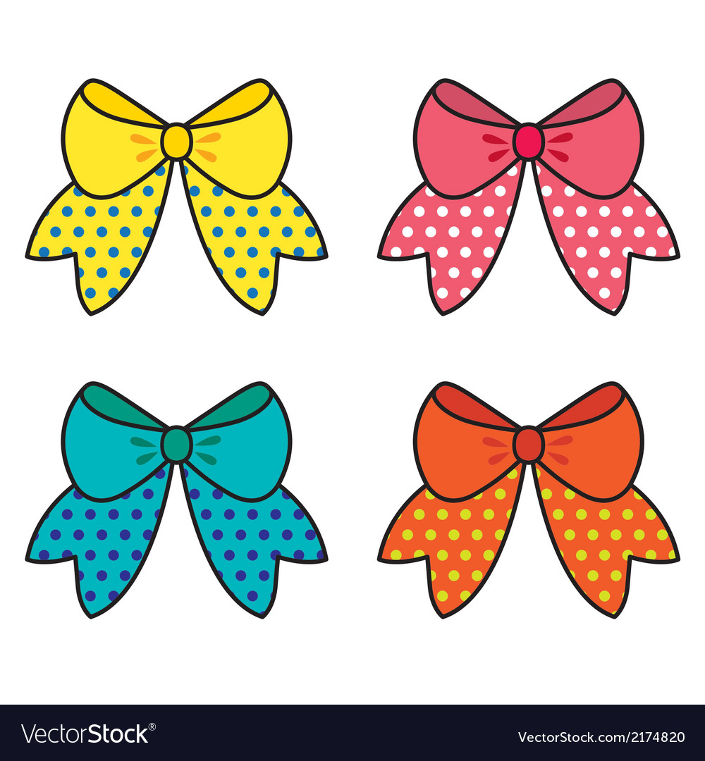 Set of colorful bow vector | Price: 1 Credit (USD $1)