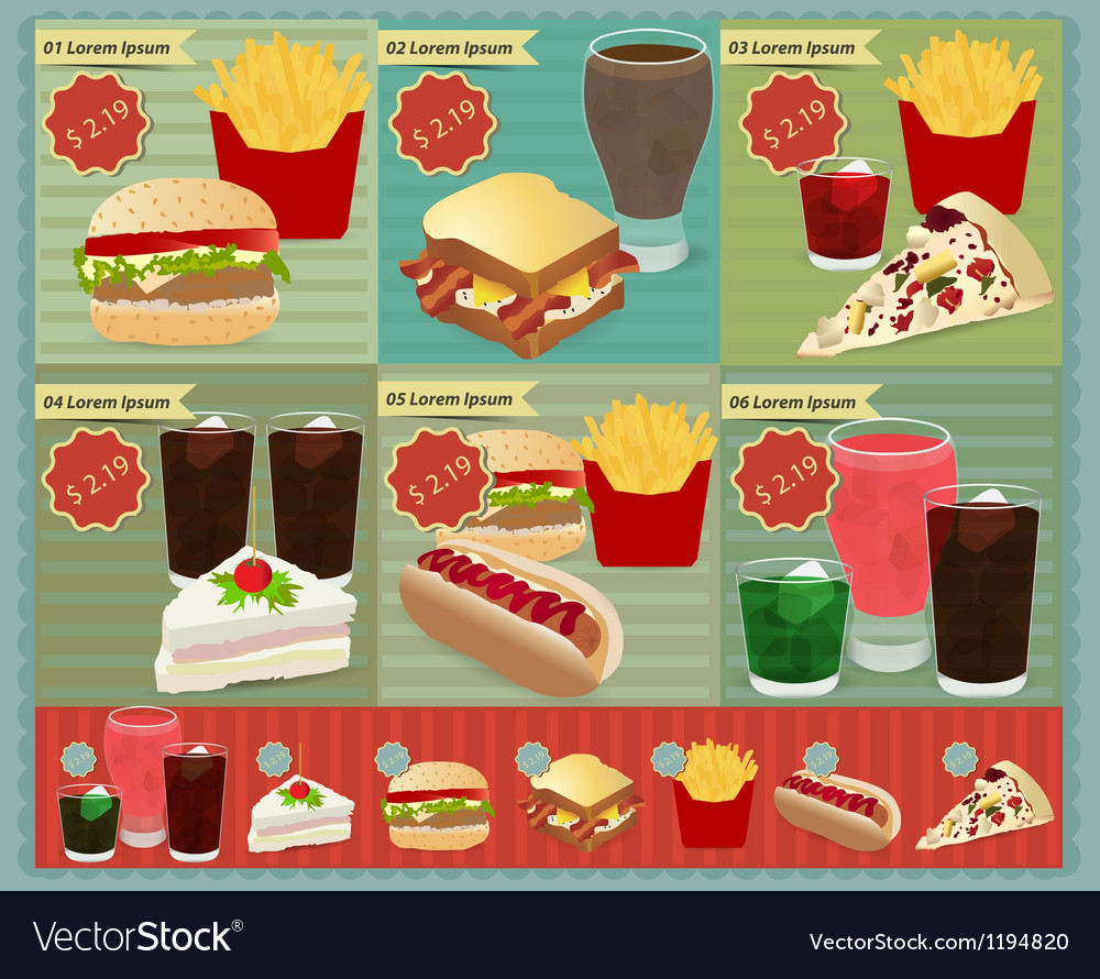 Set of retro fast food menu vector | Price: 3 Credit (USD $3)