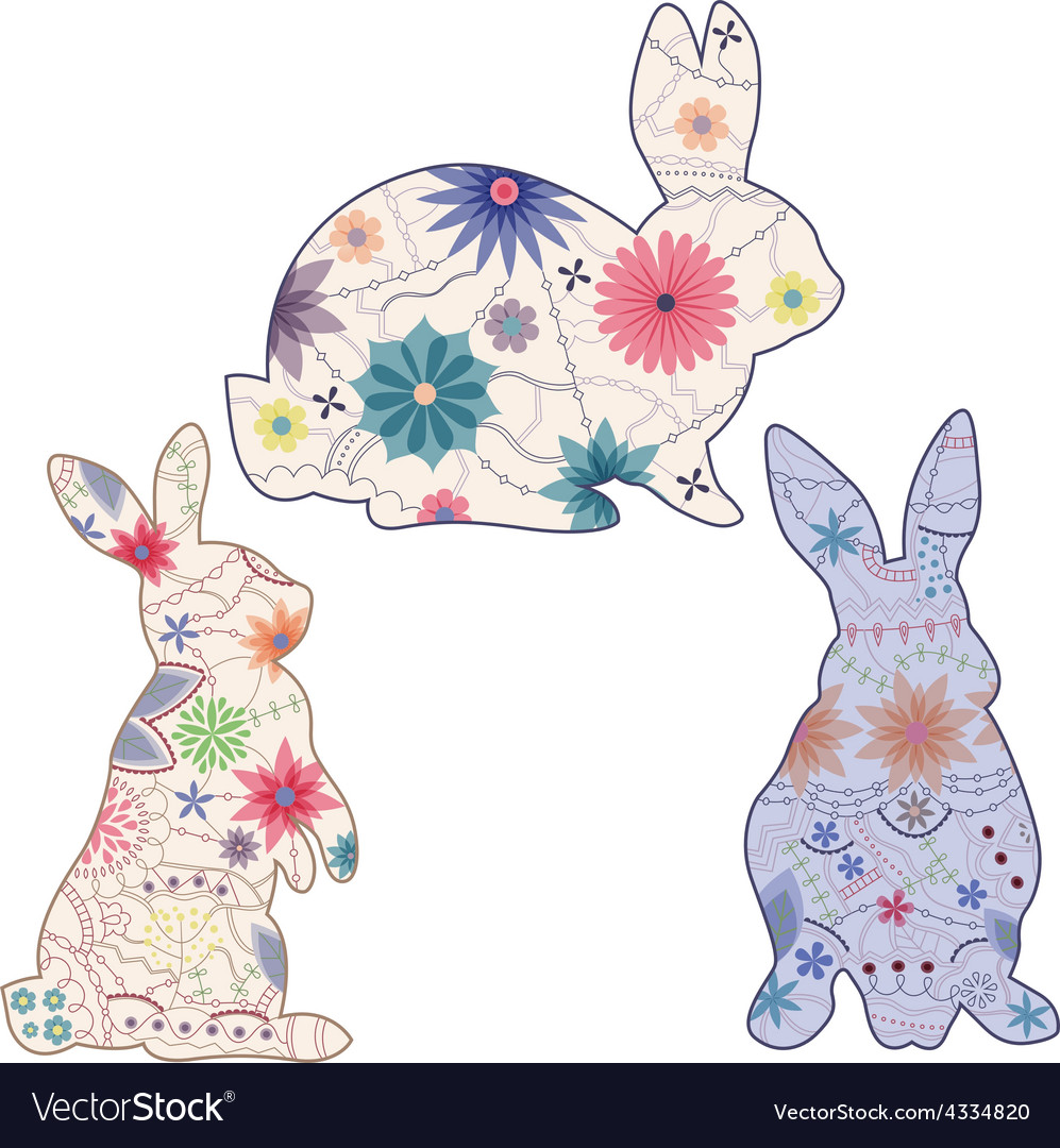 Set of vintage rabbits vector | Price: 1 Credit (USD $1)