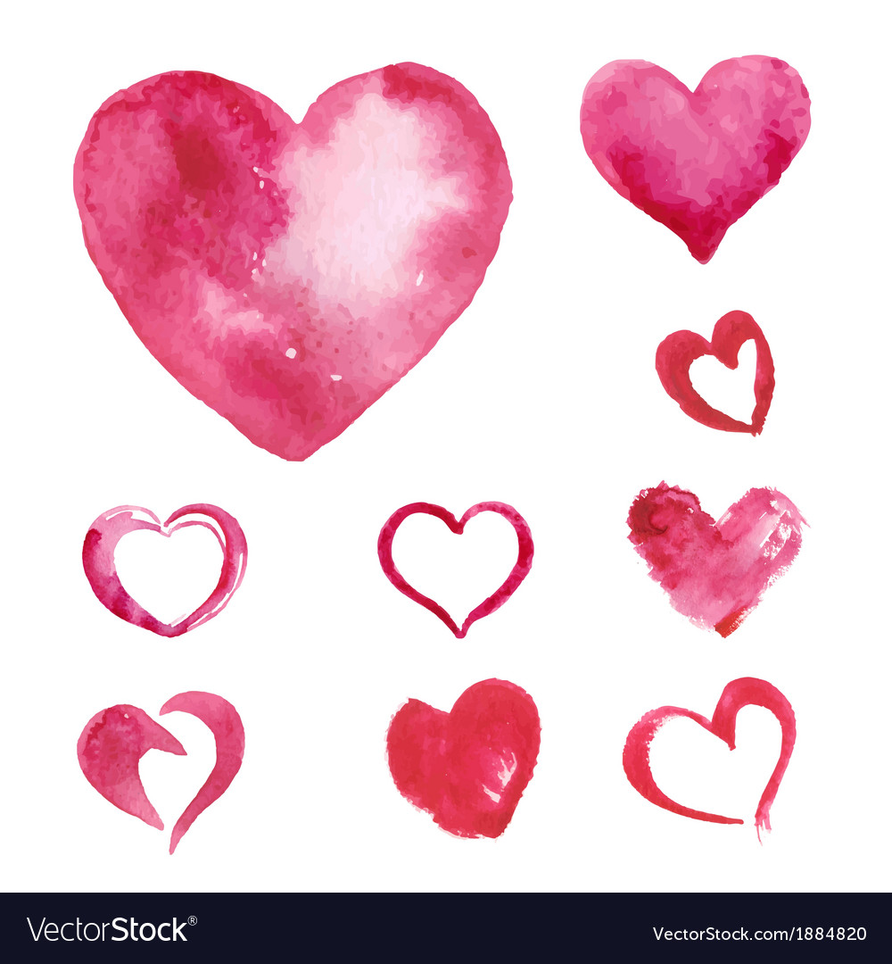 Set of watercolor painted pink heart vector | Price: 1 Credit (USD $1)