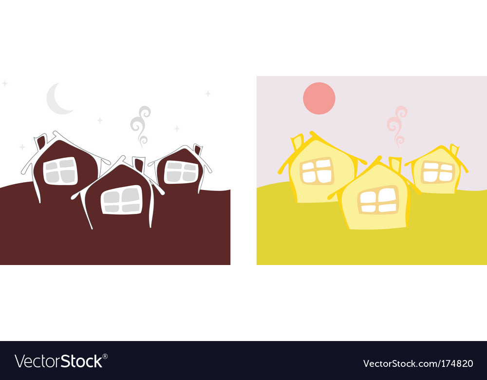 Three cottage day and night vector | Price: 1 Credit (USD $1)