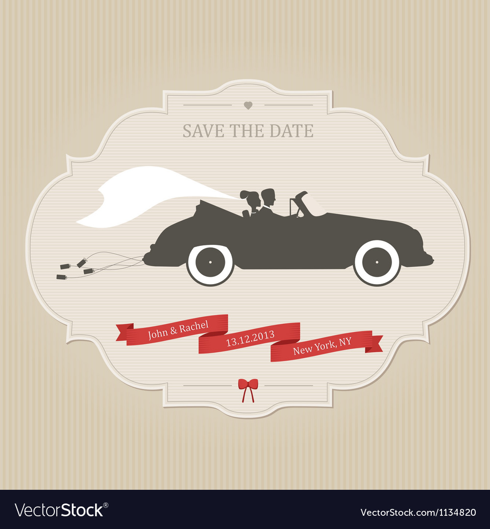Vintage wedding invitation with retro car dragging vector | Price: 1 Credit (USD $1)