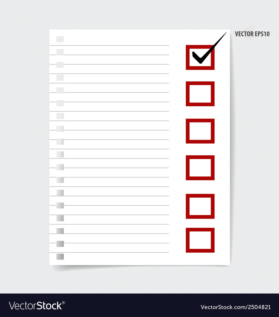 A checklist with black marker and red checked vector | Price: 1 Credit (USD $1)