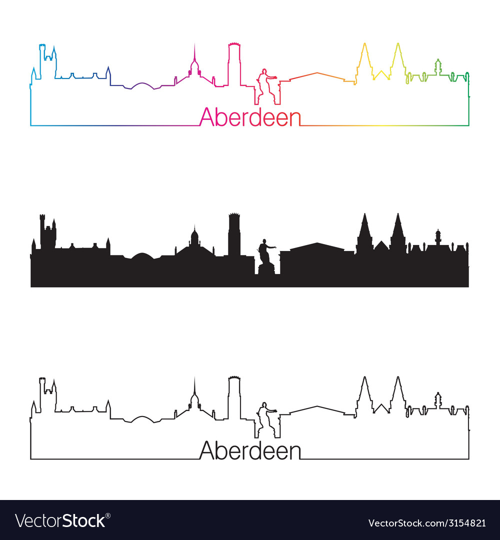 Aberdeen skyline linear style with rainbow vector | Price: 1 Credit (USD $1)