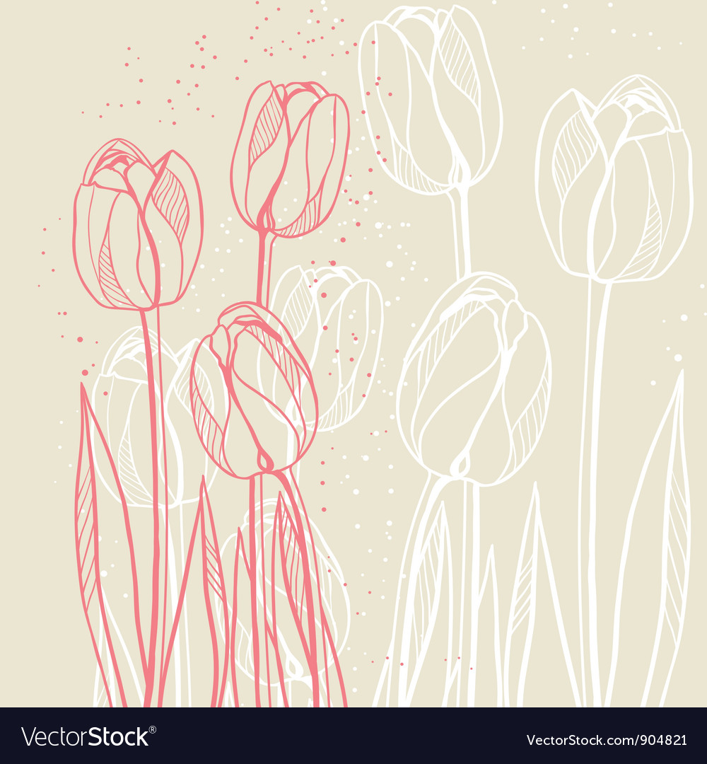Abstract floral with tulips on beige background vector | Price: 1 Credit (USD $1)